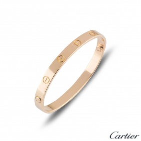 Cartier Rose Gold Plain Love Bracelet Size 17 B6035617